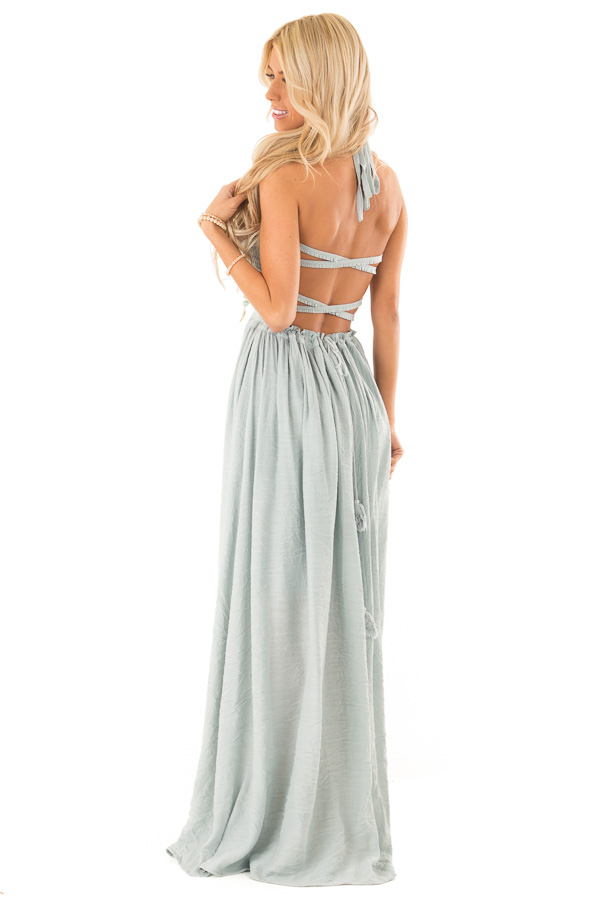 Dusty Blue Smocked Halter Maxi Dress with Criss Cross Back side full body