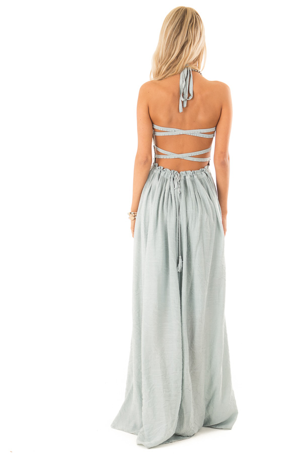 Dusty Blue Smocked Halter Maxi Dress with Criss Cross Back back full body