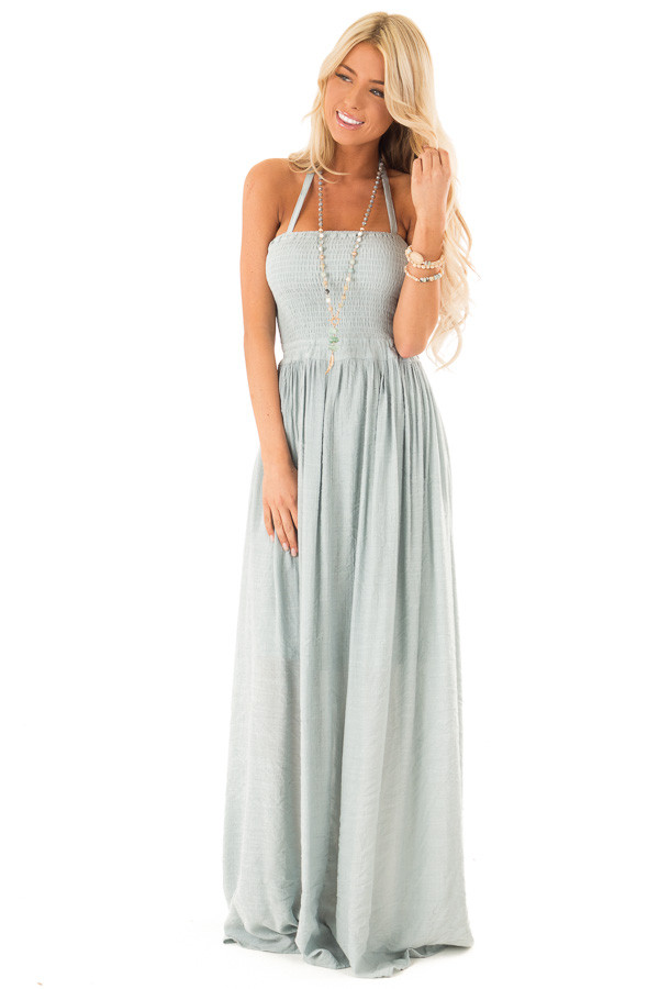 Dusty Blue Smocked Halter Maxi Dress with Criss Cross Back front full body