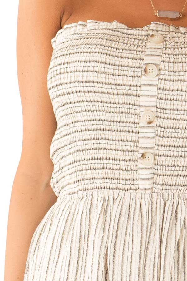 Sand Dollar Striped Sleeveless Jumpsuit with Button Detail detail