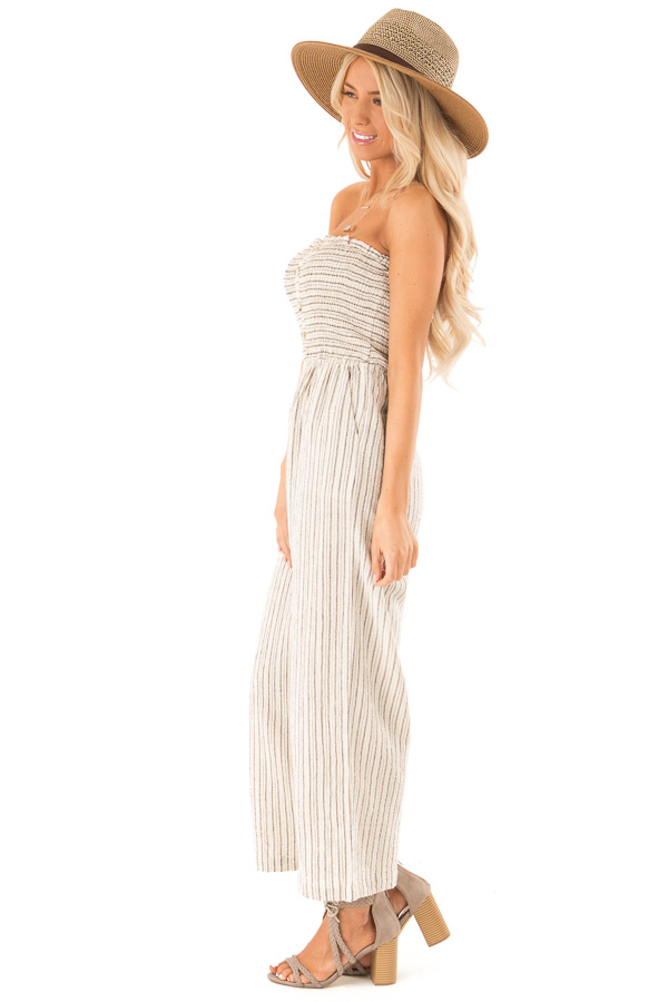 Sand Dollar Striped Sleeveless Jumpsuit with Button Detail side full body