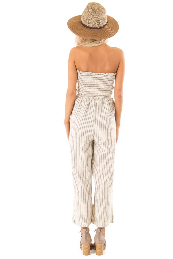 Sand Dollar Striped Sleeveless Jumpsuit with Button Detail back full body