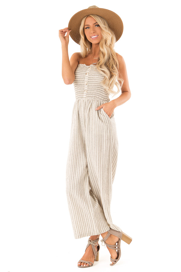 Sand Dollar Striped Sleeveless Jumpsuit with Button Detail front full body