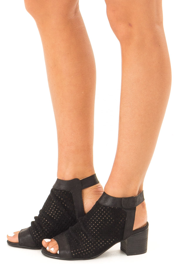 Ink Black Faux Suede Perforated Open Toe Heeled Sandal side view