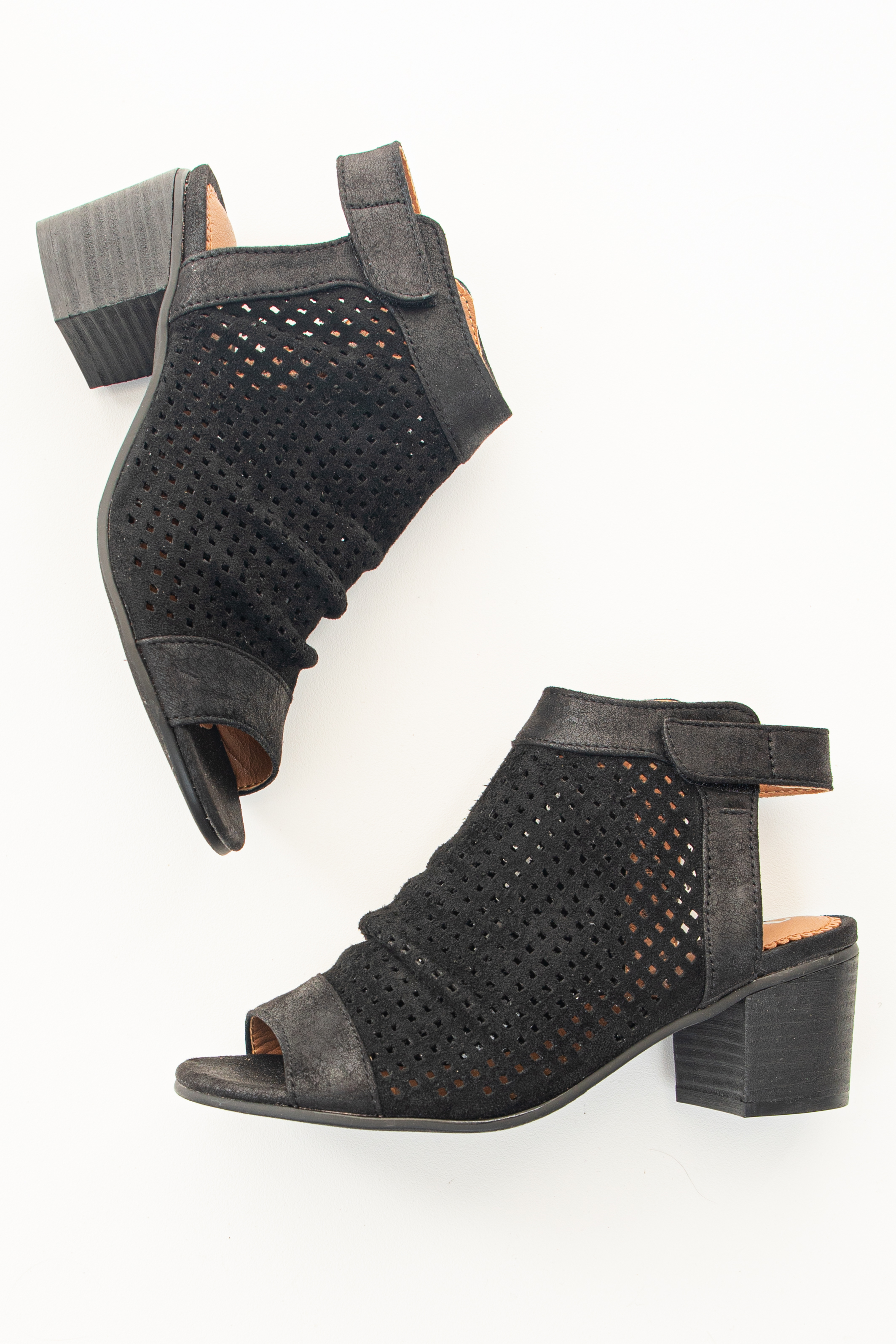 Ink Black Faux Suede Perforated Open Toe Heeled Sandal