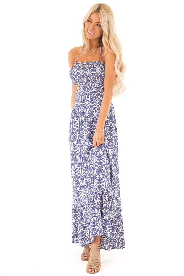 Off White and Antique Blue Floral Print Maxi Dress front full body