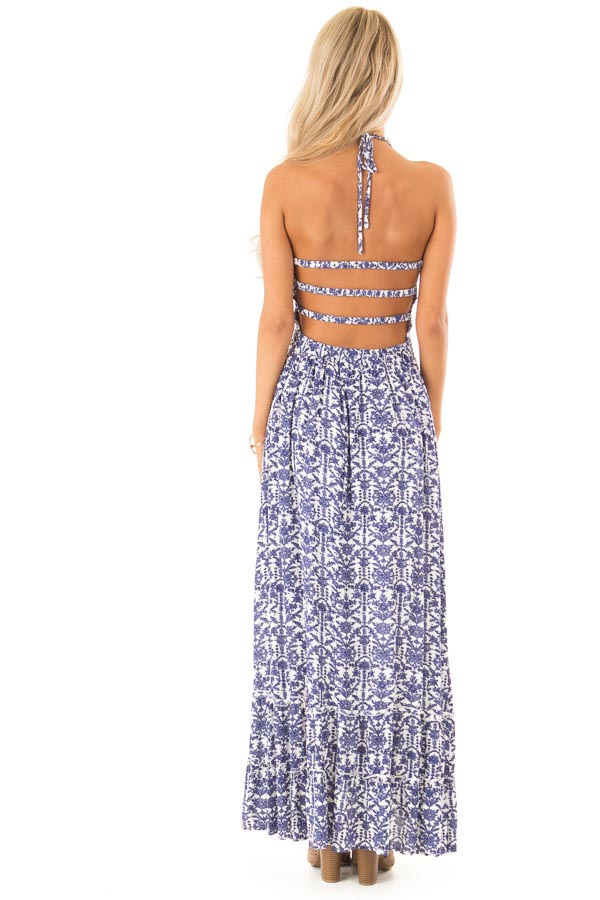 Off White and Antique Blue Floral Print Maxi Dress back full body
