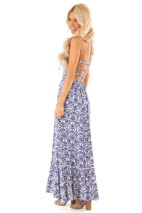 Off White and Antique Blue Floral Print Maxi Dress side full body