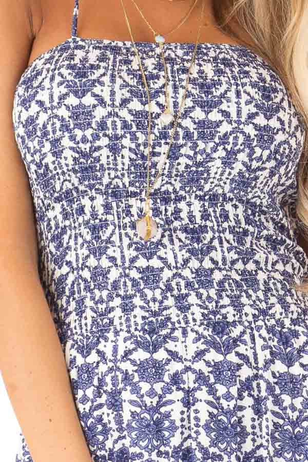 Off White and Antique Blue Floral Print Maxi Dress detail
