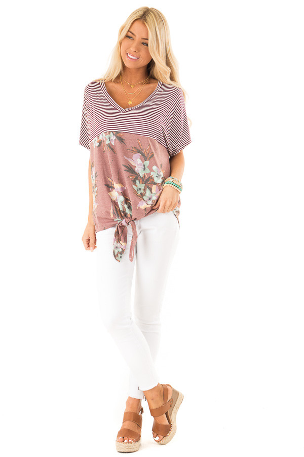 Burgundy Striped and Floral V Neck Top with Front Tie front full body
