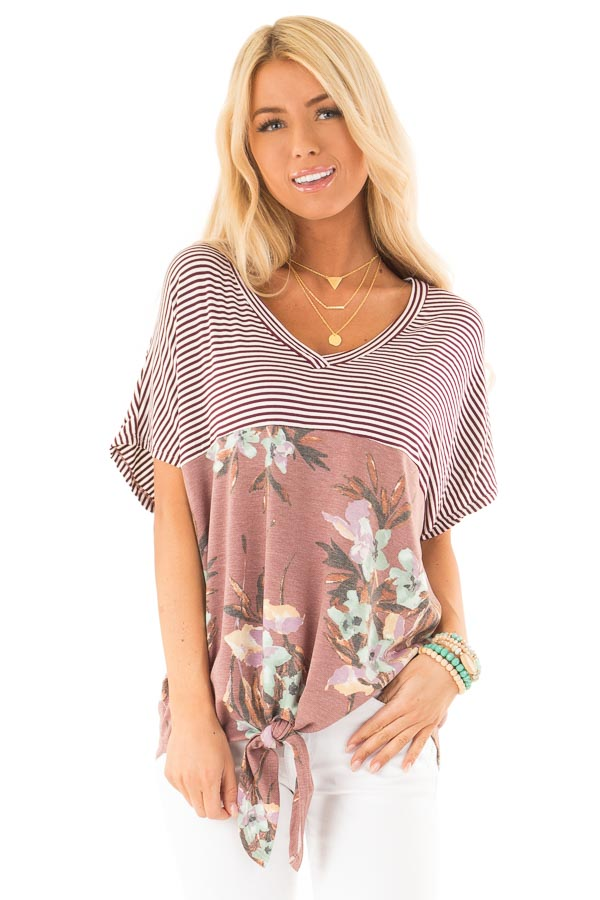 Burgundy Striped and Floral V Neck Top with Front Tie front close up