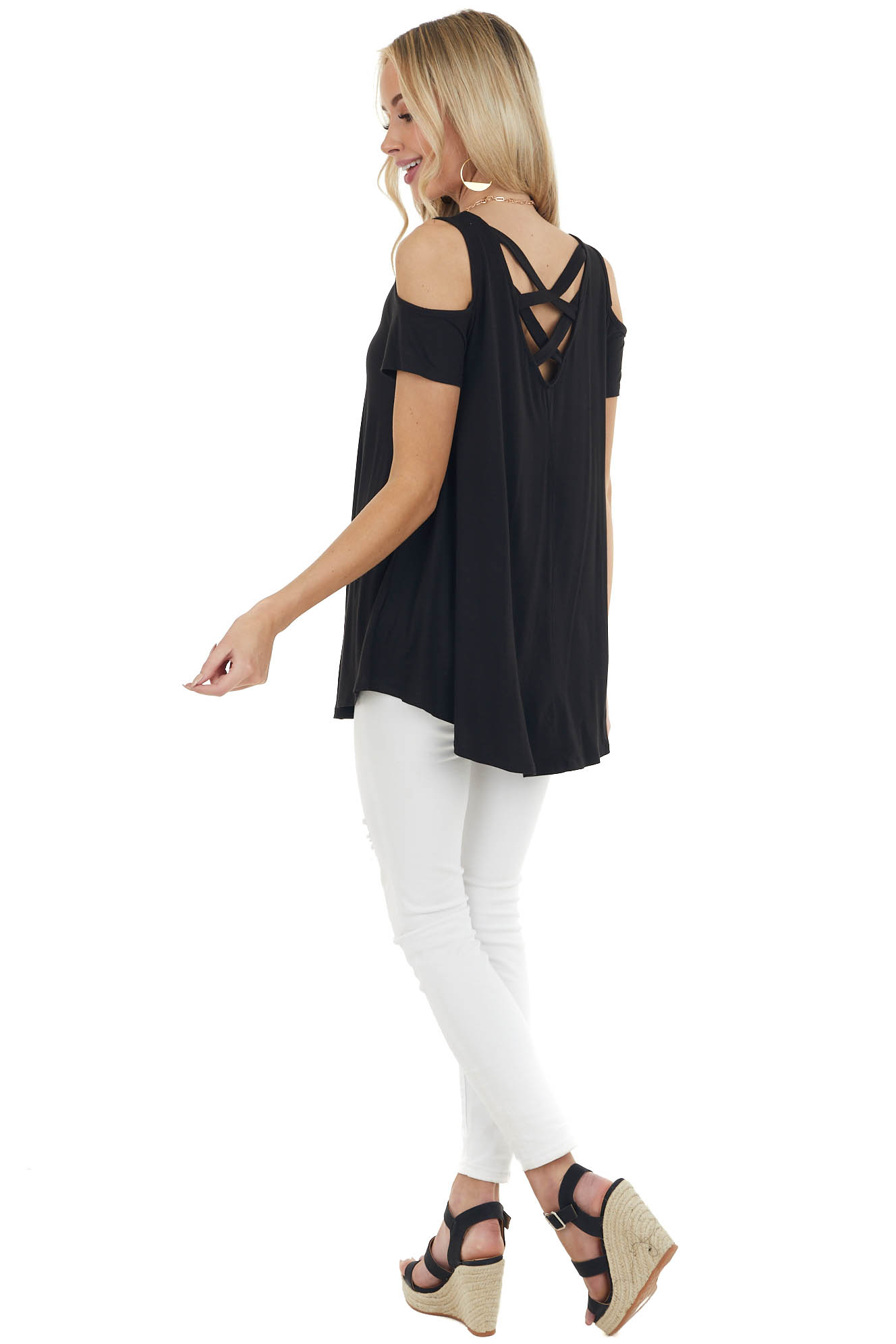 Jet Black Cold Shoulder Top with Criss Cross Back Detail