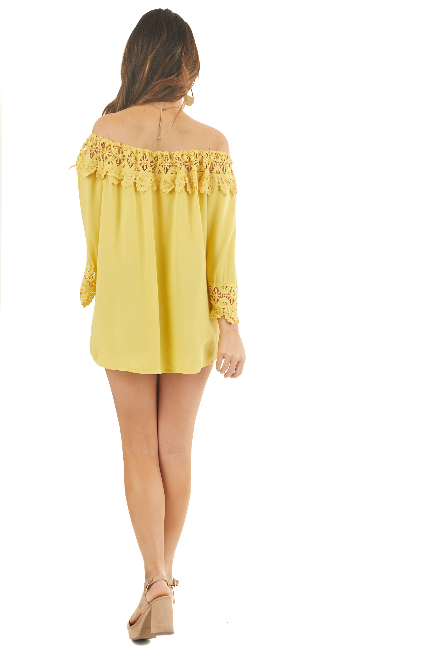 Sunshine Off the Shoulder Peasant Top with Crochet Trim