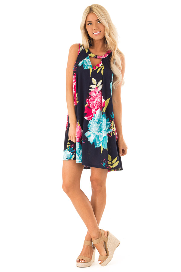 Navy Swing Dress with Floral Print and Keyhole Detail front full body
