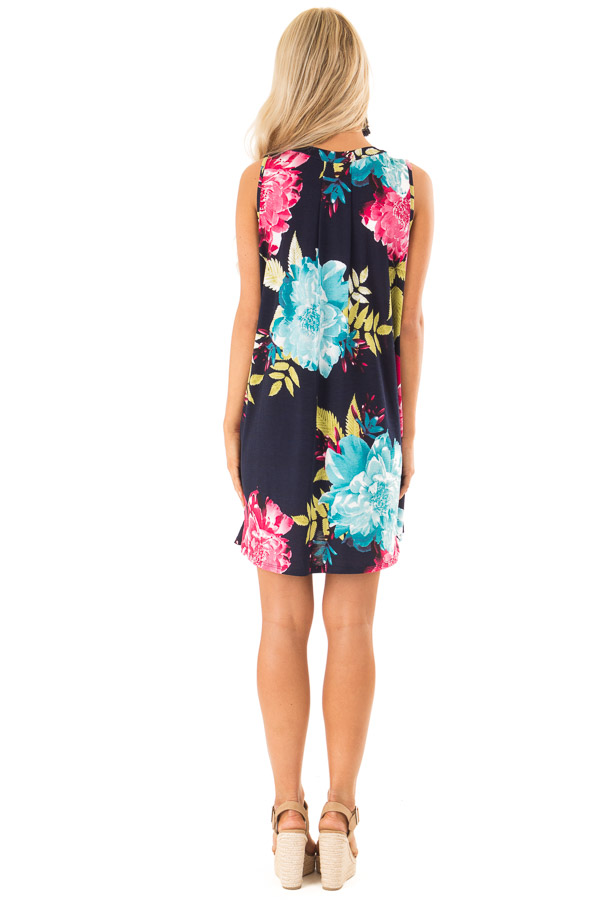Navy Swing Dress with Floral Print and Keyhole Detail back full body