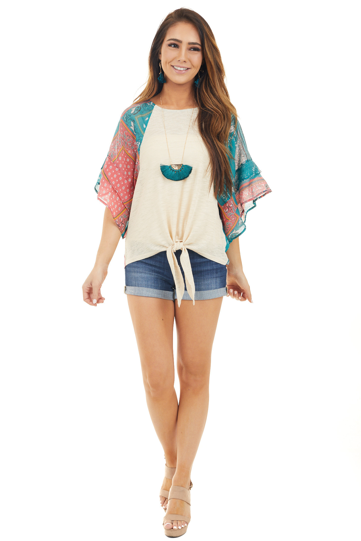 Oat Top with Multicolor Short Sleeves and Front Tie Detail