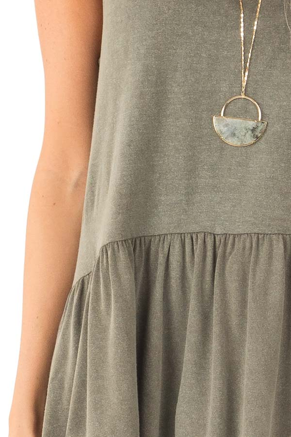 Vintage Olive Peplum Tank Top with Sheer Lace Back Detail detail