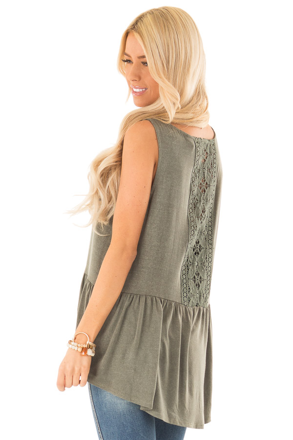 Vintage Olive Peplum Tank Top with Sheer Lace Back Detail side close up