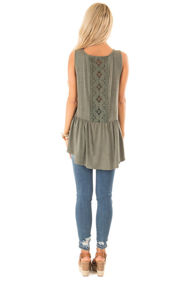 Vintage Olive Peplum Tank Top with Sheer Lace Back Detail back full body