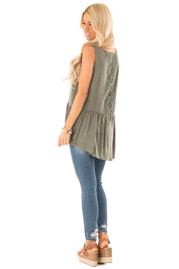 Vintage Olive Peplum Tank Top with Sheer Lace Back Detail side full body