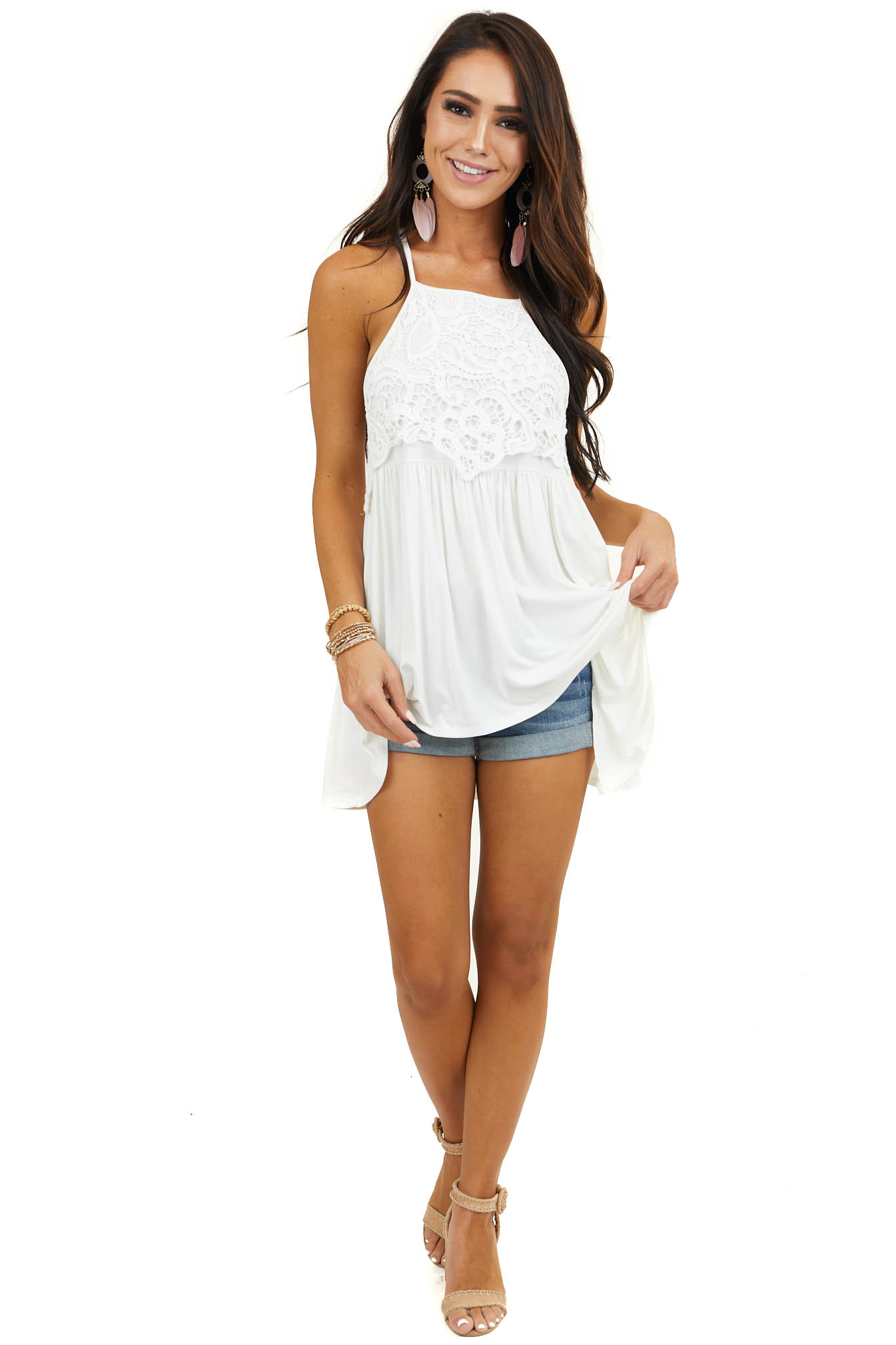 Off White Sleeveless Top with Crochet Lace Detail