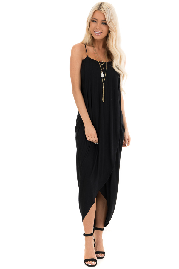Obsidian Surplice Style High Low Midi Dress front full body