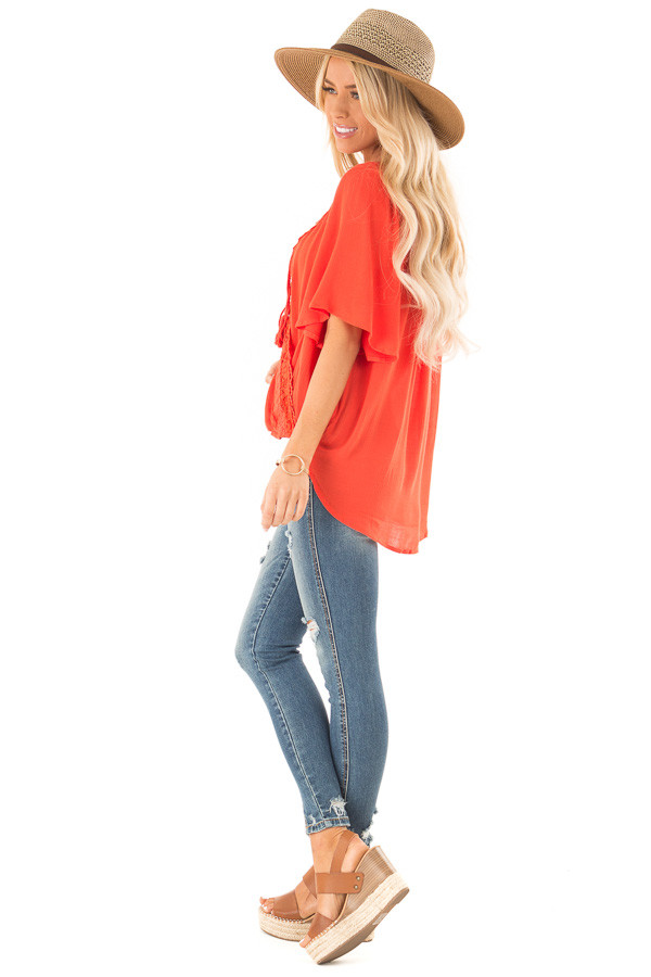 Tomato Red Lace Surplice Top with Front Tassel Tie side full body