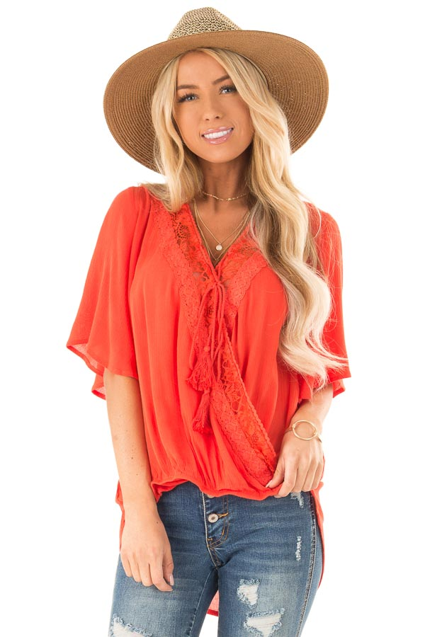 Tomato Red Lace Surplice Top with Front Tassel Tie front close up