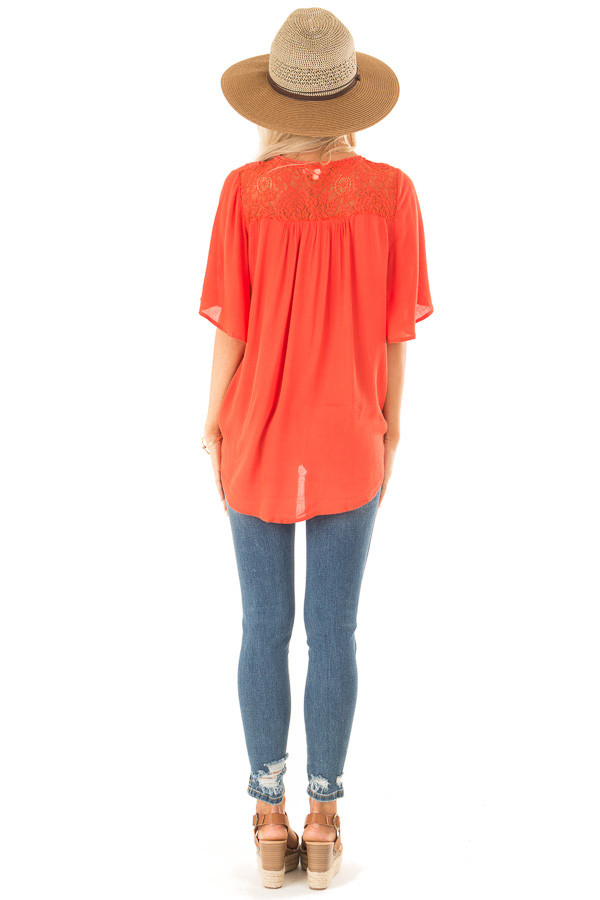 Tomato Red Lace Surplice Top with Front Tassel Tie back full body