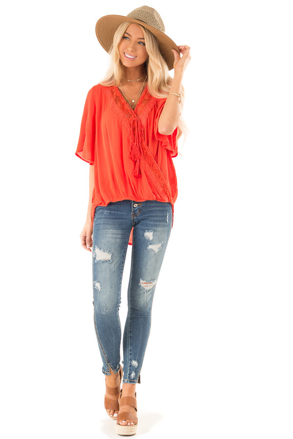 Tomato Red Lace Surplice Top with Front Tassel Tie front full body