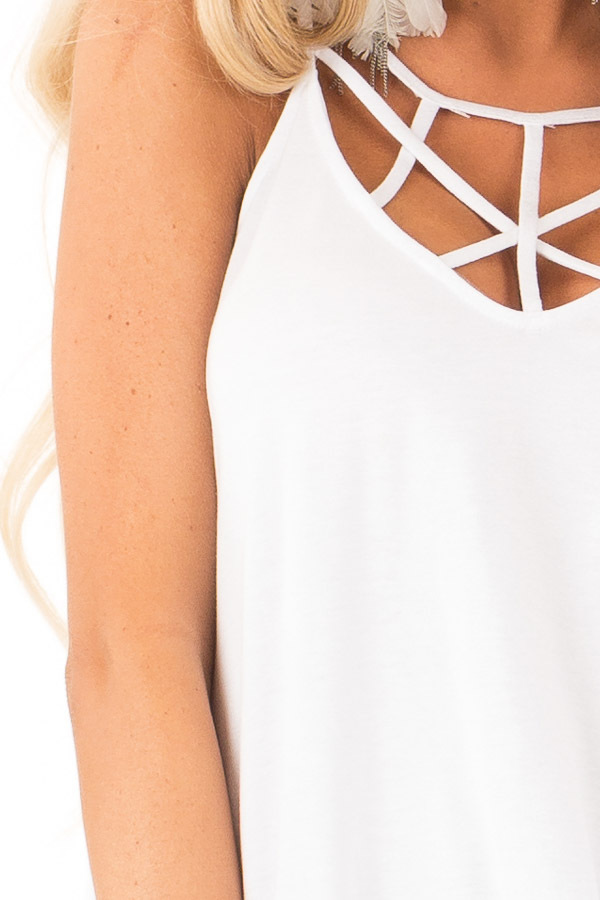 Coconut White Tank Top with Cage Neckline Detail detail
