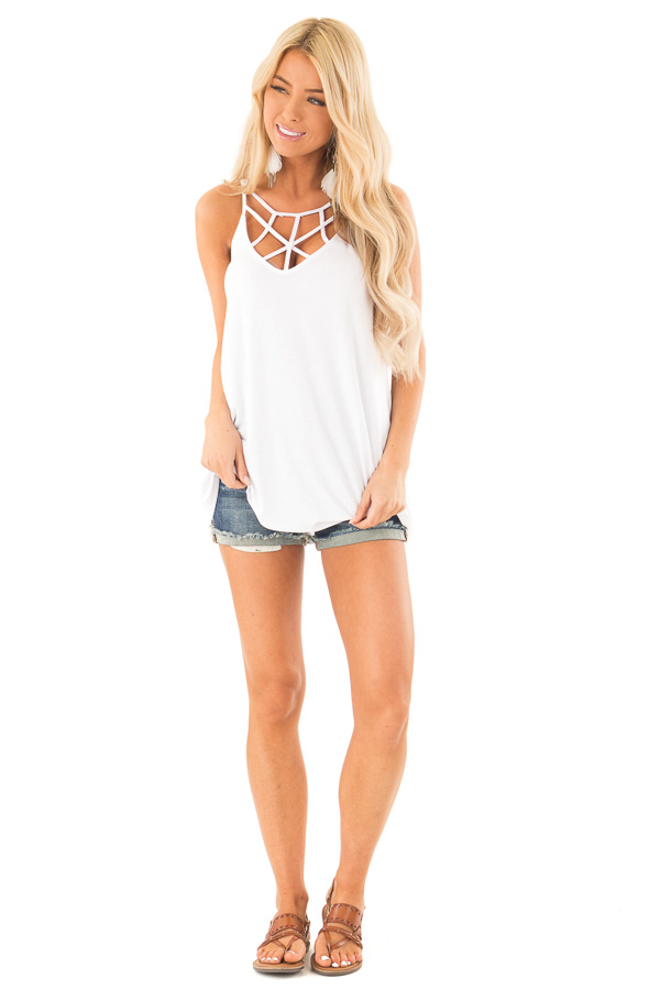 Coconut White Tank Top with Cage Neckline Detail front full body