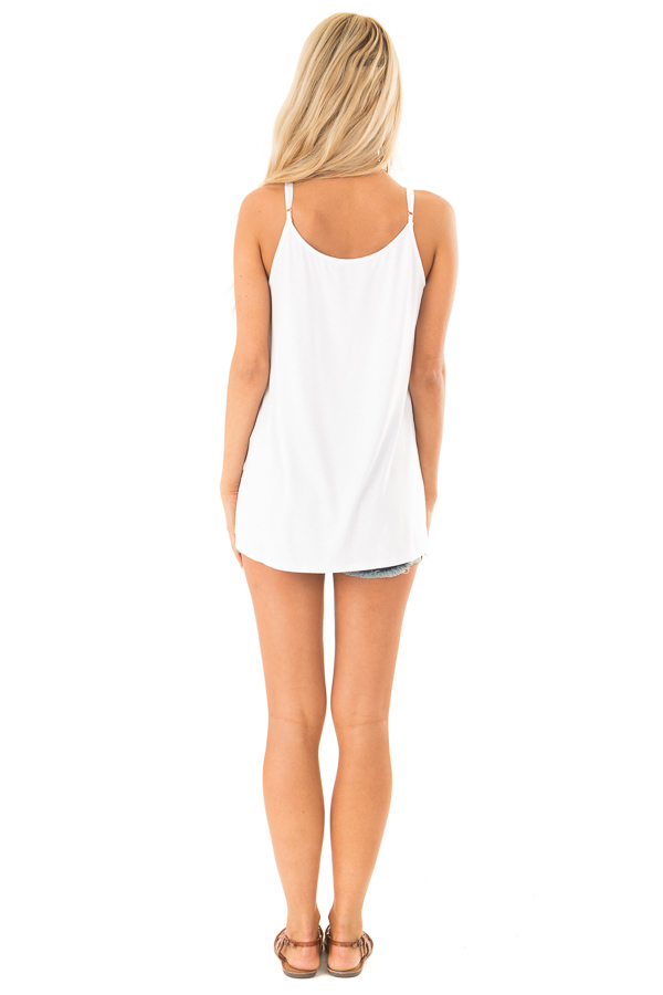 Coconut White Tank Top with Cage Neckline Detail back full body