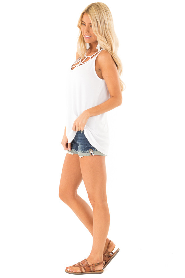 Coconut White Tank Top with Cage Neckline Detail side full body