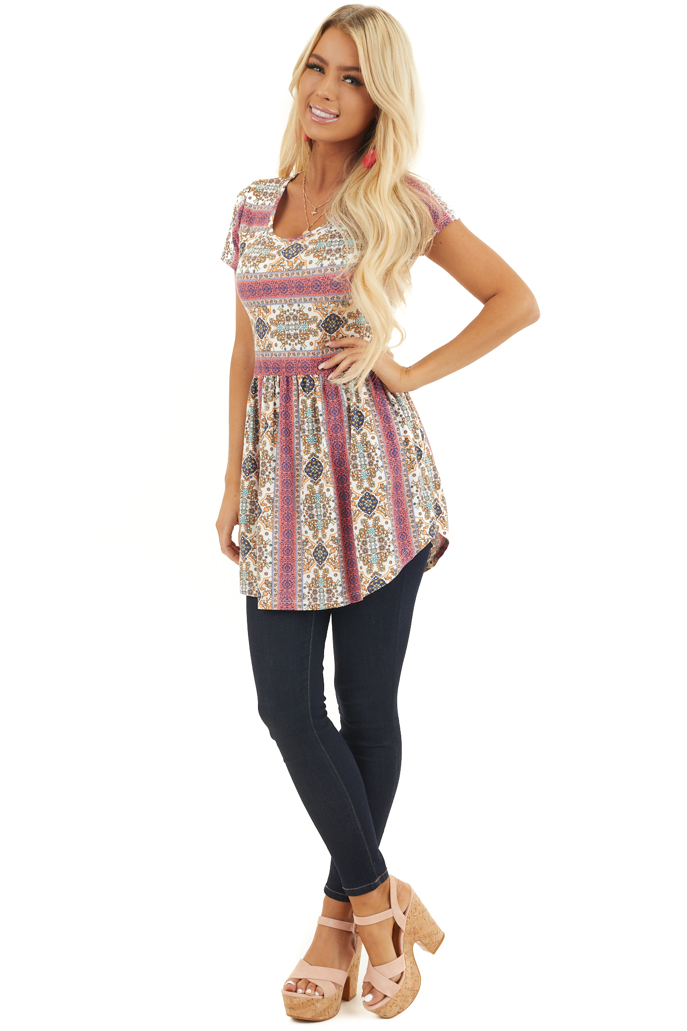 Coral Patterned Short Sleeve Babydoll Top