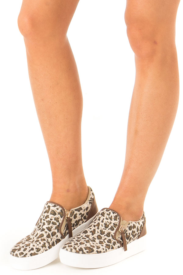 Oatmeal and Coffee Leopard Print Slip On Canvas Sneakers front side view