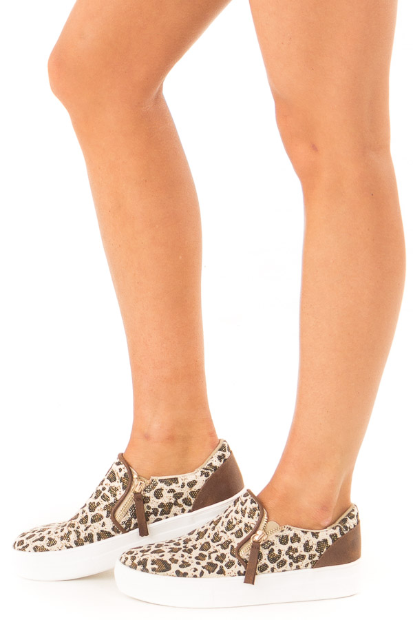 Oatmeal and Coffee Leopard Print Slip On Canvas Sneakers side view