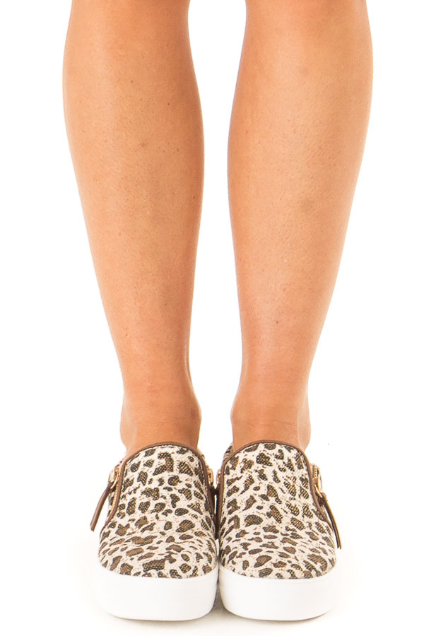Oatmeal and Coffee Leopard Print Slip On Canvas Sneakers front view