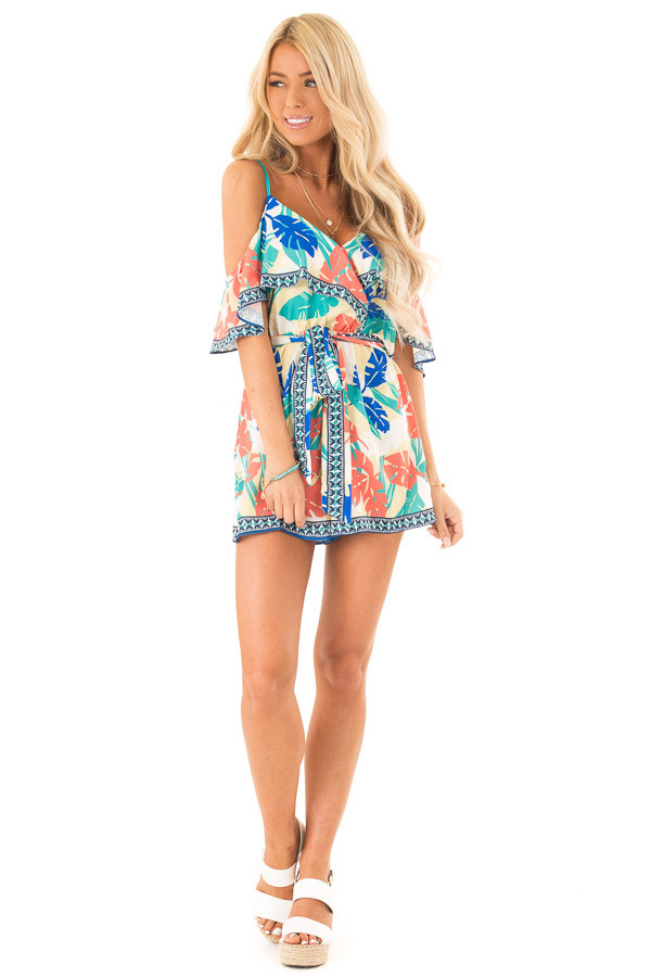 Banana Tropical Print Cold Shoulder Romper with Waist Tie front full body