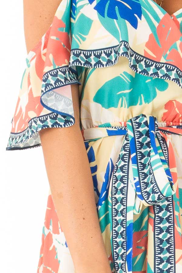 Banana Tropical Print Cold Shoulder Romper with Waist Tie detail