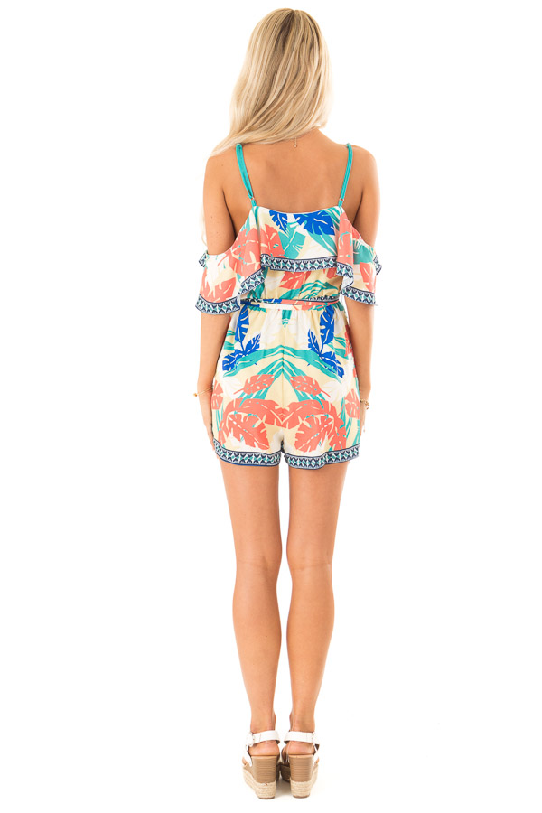 Banana Tropical Print Cold Shoulder Romper with Waist Tie back full body