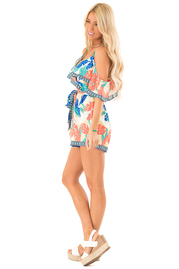 Banana Tropical Print Cold Shoulder Romper with Waist Tie side full body