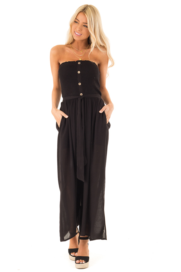 Jet Black Smocked Tube Top Capri Length Jumpsuit with Tie front full body