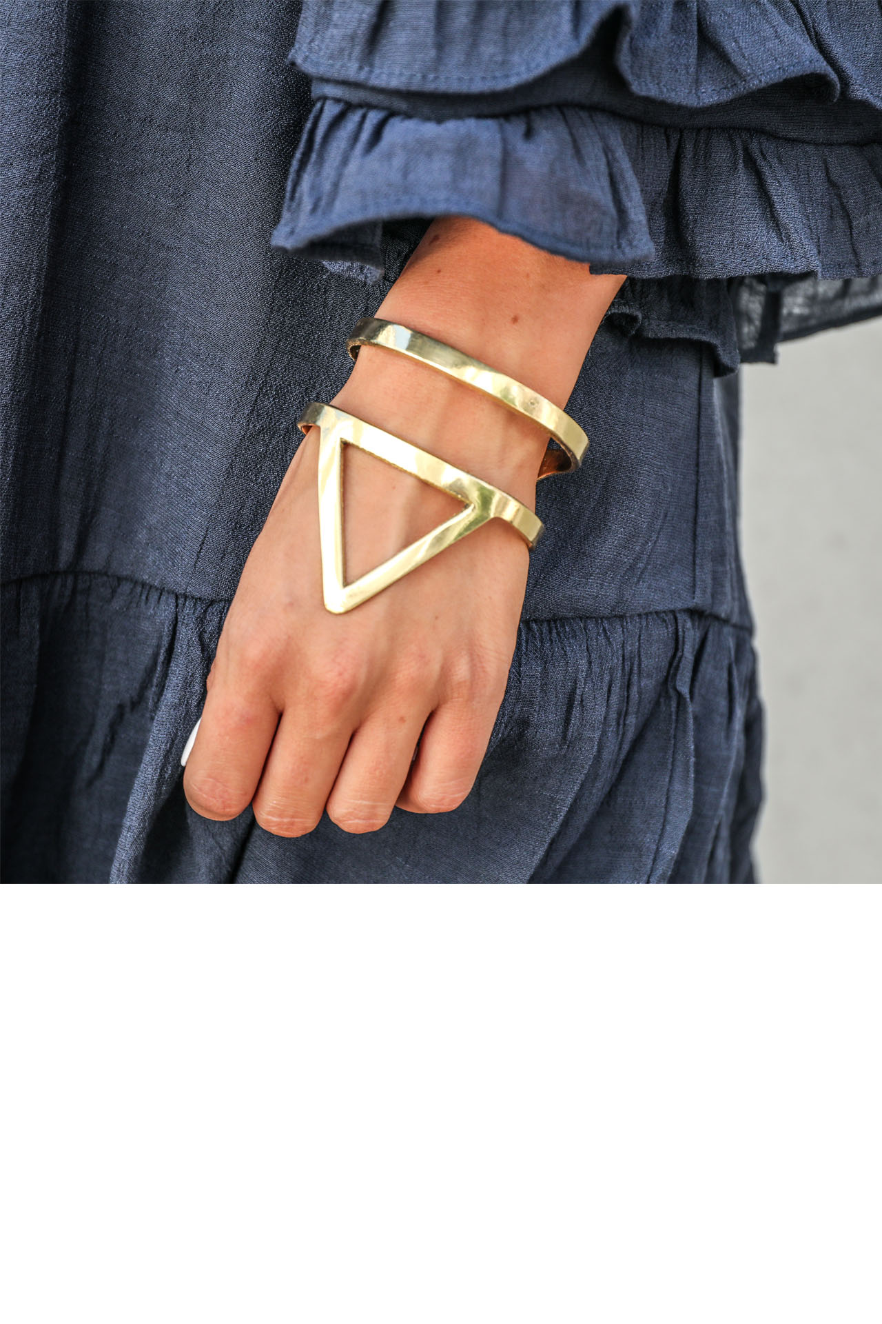Gold Cuff Bracelet with Geometric Detail