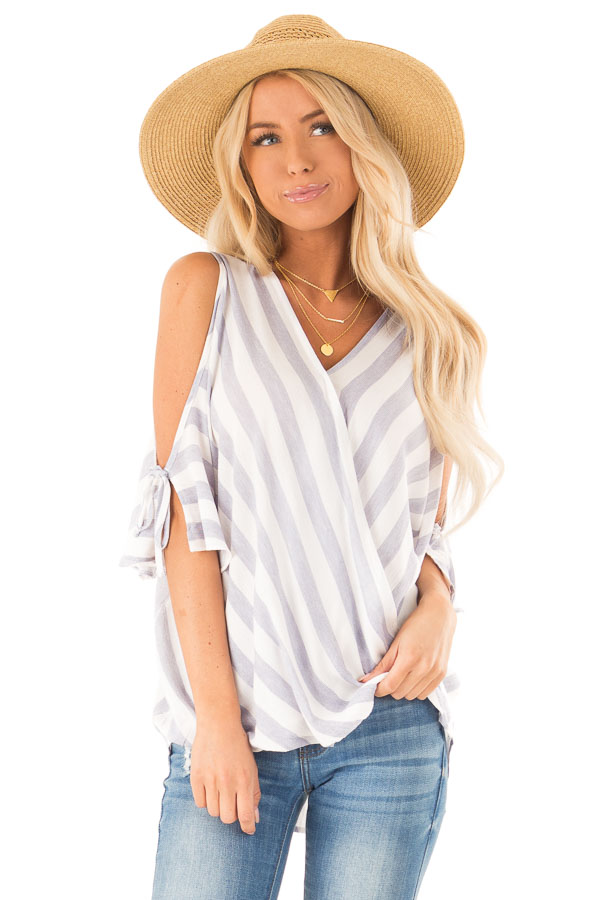 Periwinkle and Ivory Striped Cold Shoulder Surplice Top front close up