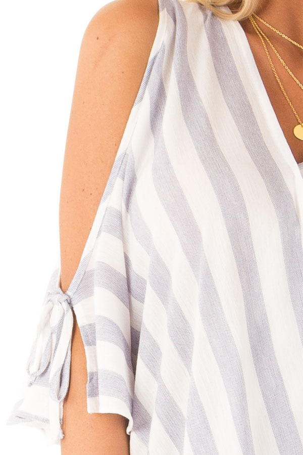 Periwinkle and Ivory Striped Cold Shoulder Surplice Top detail
