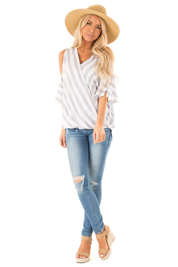 Periwinkle and Ivory Striped Cold Shoulder Surplice Top front full body