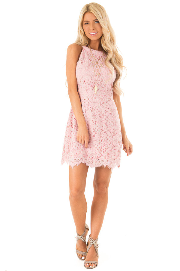 Blush Floral Lace Dress with High Neck and Scalloped Hem front full body