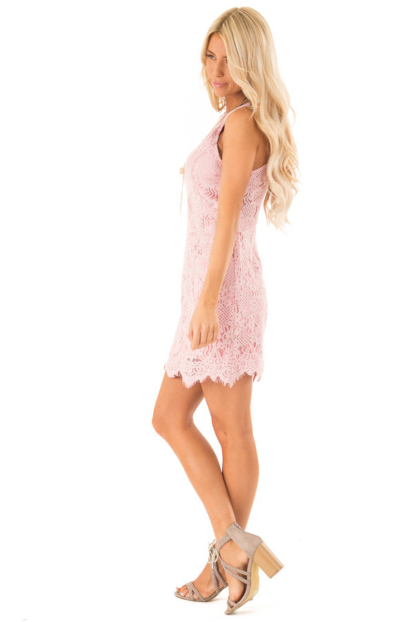 Blush Floral Lace Dress with High Neck and Scalloped Hem side full body