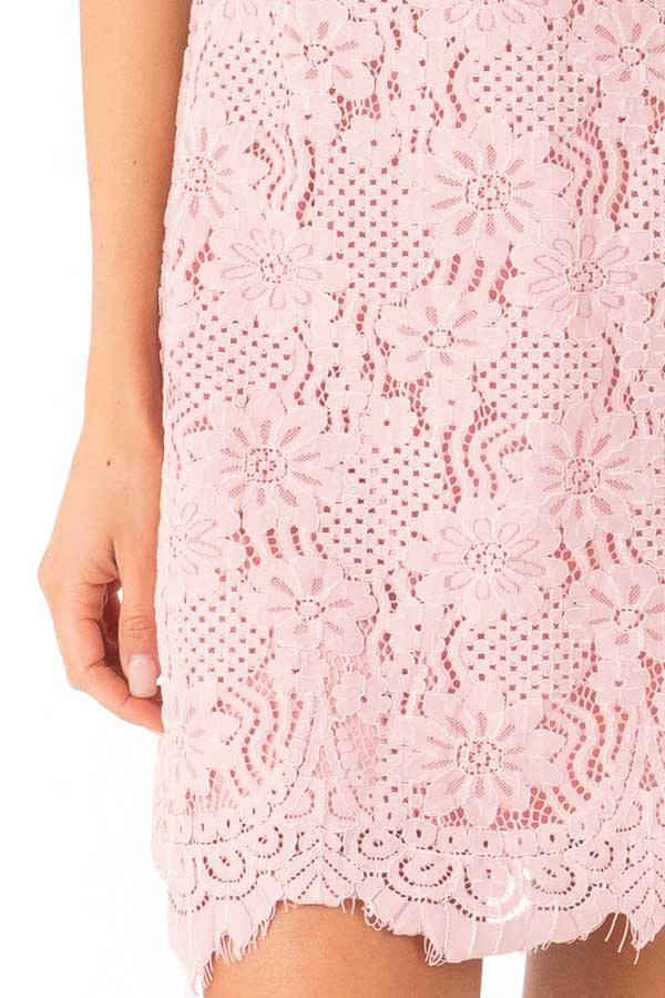 Blush Floral Lace Dress with High Neck and Scalloped Hem detail